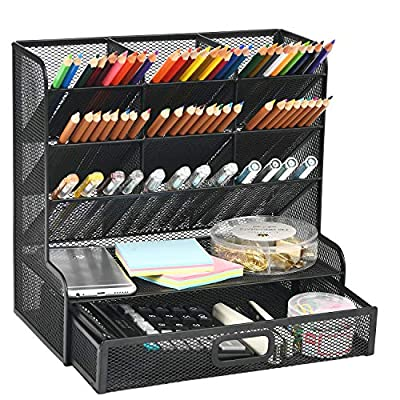 Marbrasse Mesh Desk Organizer, Multi-Functional Pen Holder, Pen Organizer for desk, Desktop Stationary Organizer, Storage Rack for School Home Office Art Supplies
