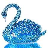 Alloy & Crystal Swan Figurine Jewelry Trinket Box Hinged Swan Ring Holder