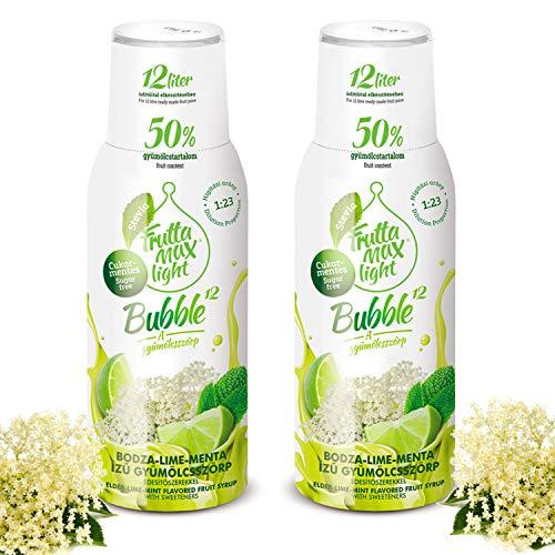 Light Low-Carb Fitness-Sirup Holunderblüte-Limette-Minze Geschmack von Frutta Max light | Ohne-Zucker | mit Stevia | mit 50% Fruchtanteil 2erPack(2x500ml)