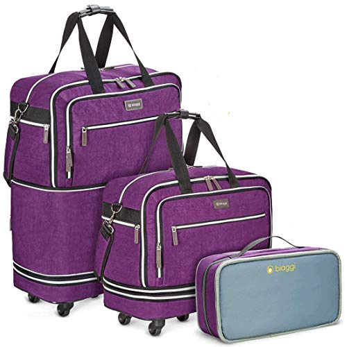 Biaggi Zipsak Boost Max Carry-On Suitcase - Compact Luggage Expandable - As Seen on Shark Tank - Purple
