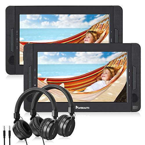 """NAVISKAUTO 10\"""" DVD Player Auto 2 Monitore Tragbarer DVD Player 5 Stdn. Spielzeit 1024 * 600 HD Kopfstütze Fernseher mit 2 Kopfhörer"""