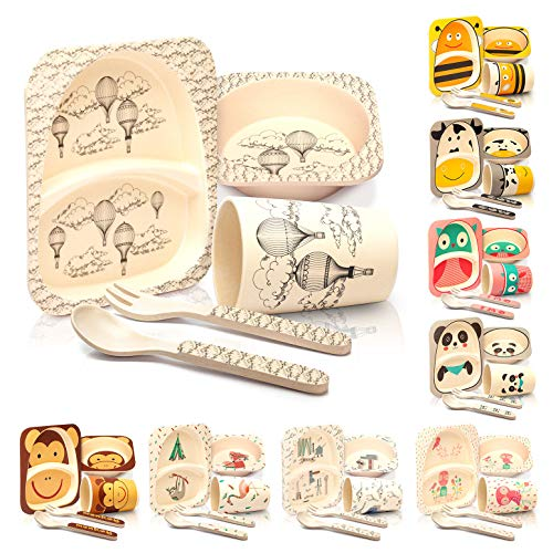 bambuswald Assiette Enfant | Couvert Enfant Bambou | 5 Pièces: Assiette - Gobelet - Bol - Fourchette enfant - Cuillere bebe | Ecologique - Lavable au Lave-vaisselle | Assiette Bebe - Couvert Bebe