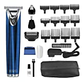 WAHL Stainless Steel Lithium Ion 2.0+ Blue Beard Trimmer for Men - Electric Shaver, Nose Ear Trimmer, Rechargeable All in One Men's Grooming Kit - Model 9864B
