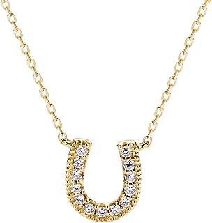 14K Solid Yellow Gold 0.104ct Diamond Cute Lucky Horseshoe U Pendant Necklace for Women Girls, 16