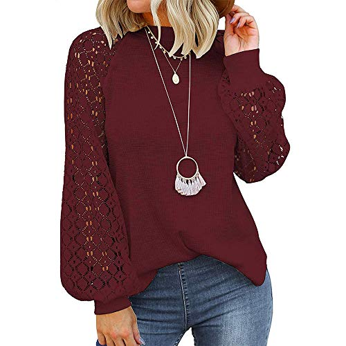 iMixCity Blusa Donna Elegante Manica Lunga Camicia in Pizzo Inverno Felpa Casual in Maglia Tops a Tunica Sciolti Camicetta Casuale (Vino Rosso, XL)