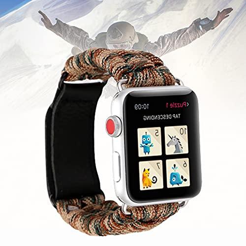 Correa De Reloj De Paracord Compatible con Apple Watch De 42 Mm Y 44 Mm - Correa De Reloj De Paracord con Arco Ajustable De Acero Inoxidable (550 Paracord),42mm/44mm
