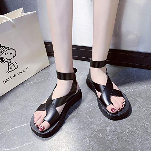 Summer Woman Orthotic Sandals Beach Shoes Slippers PU Leather Foot Casual Comfy Breathable Flat Heel,Best for Ladies Suffering from Bunions,04,36