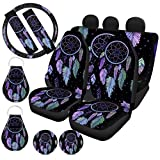 UZZUHI Car Front & Rear Seat Covers/Steering Wheel Wrap/Seatbelt Pads/Cup Holder Coasters/Auto Keychains,Car Decor Accessories 11 Pcs Set,Dream Catcher Feather Starry