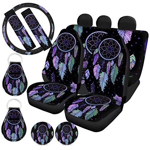 ZFRXIGN Tribal Dreamcatcher Car Seat Covers Full Set for Women Steering Wheel Covers, Cup Coaster, Keychians, Safety Belt Pads Fit Most Cars SUV Sedan Vans Purple Feather Galaxy