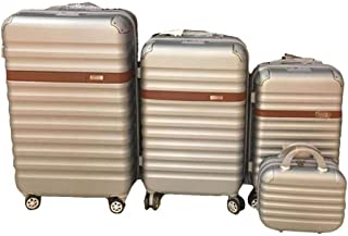 3 Pieces Trolly Bags with small Beauty Case Fiber Material Gold Colour