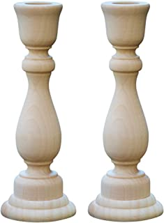 6-3/4 Inch Unfinished Candlesticks Holders, Pack of 2 Unfinished Wood Classic Craft Candlesticks Smoothed and Ready to Easily Paint or Decorate, DIY The Way It Inspires You by Woodpeckers