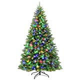 Hykolity 6.5 ft Prelit Artificial Christmas Tree with 350 Multicolor Lights, 1000 Tips, Metal Stand and Hinged Branches