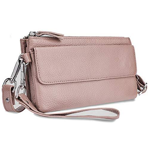 Yaluxe Borsa a tracolla Donna in vera pelle Borsa a polso per smartphone Portafoglio a con slot per schede di blocco RFID Rosa
