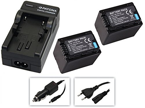 4in1-SET für die Panasonic HC-V777EG und HC-V380EG Camcorder --- 2 PREMIUM Akkus für VBT380 (4040mAh) + Schnell-Ladegerät für Digitalkamera / Camcorder incl. KFZ-Lader (12V) inkl. PATONA Displaypad