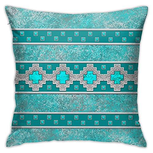 Funda de almohada cuadrada para sofá, cama, coche, 45,7 x 45,7 cm, color plateado
