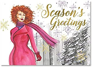 African American Expressions - Season's Greetings/Purple Snowflakes Boxed Christmas Cards (15 cards, 5