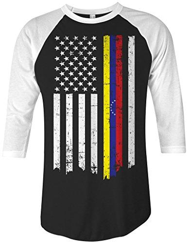 Threadrock Venezuela American Flag Unisex Raglan T-Shirt XL Black/White