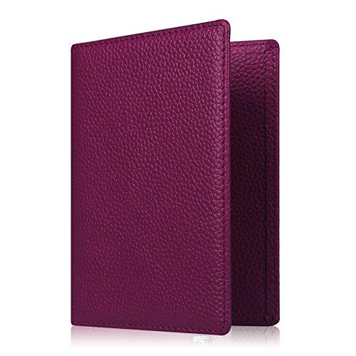 Cartera para el pasaporte, piel sintética de primera calidad, funda para el pasaporte, soporte, cartera para documentos de viaje, bloqueo de RFID.Protección segura para el pasaporte, tarjetas de visita, tarjetas de crédito, tarjetas de embarque morado