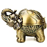 Vintage Decorative Windproof Ashtray with Lid for Cigarettes Metal Portable Cigar Ashtray Odor Eliminator Indoor Outdoor Hand Carved Stand Lucky Elephant Fancy Gift Ornament for Men Women (Bronze)