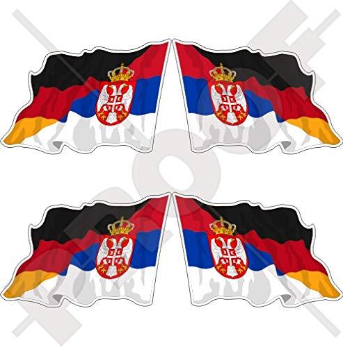 Servië-Duitsland Servisch-Duitse Waving Vlag 50mm Vinyl Bumper Sticker Sticker Decal x4