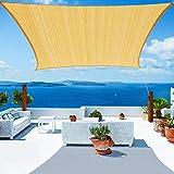 YUFOL Sun Shade Sails Square Canopy, 10' x 13' UV Block Cover for Outdoor Patio Garden Yard Patio Backyard Lawn,Shade Cloth Outdoor Cover -Beige