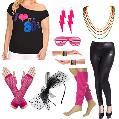 8IGHTEEN COSTUME Plus Size 80er Fancy Outfit Kostüm Set mit Leder Leggings für Damen (2X/3X, Hot Pink)