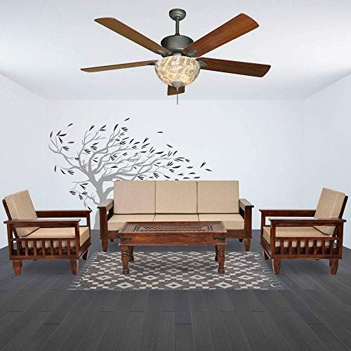 Zara Home Decor Sheesham Wood 5 Seater Sofa Set 3+1+1 for Living Room (Walnut Finish)