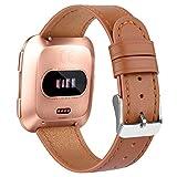 Amzpas per Cinturino Fitbit Versa Cinturino/Fitbit Versa Lite Cinturino, Cinturino di Ricambio Regolabile in Vera Pelle per Fitbit Versa Smartwatch (09 Marrone, One Size)