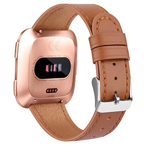Amzpas Correa Compatible con Fitbit Versa Correa/Fitbit Versa Lite Correa, ulsera de reemplazo Ajustable de Cuero Genuino Delgado para Fitbit Versa (09 Marrón, One Size)