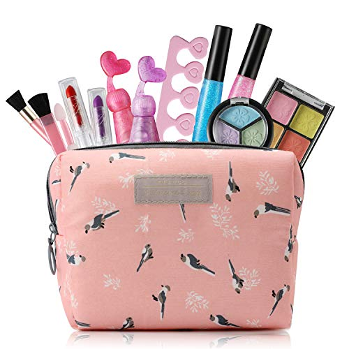 HOUS IDEAS Kids Makeup Kit for Girls with Cosmetic Bag, Little Girls Play Makeup Set for 3 4 5 6 7 8 Year Old
