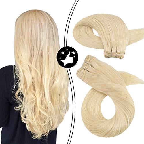 Moresoo 24zoll/60cm EchtHaare Haartresse Glatt Brasilianisch Remy Haare Weaving Extensions Mittelblond - Helllichtblond #613 1 bundle