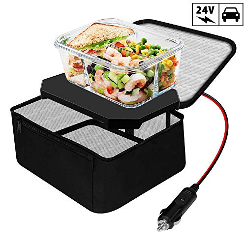 TrianglePatt Personal Portable Oven, Electric Slow Cooker For Food,Mini Oven For Meals Reheat,Food Warmer with Lunch Bag For Car(24V)