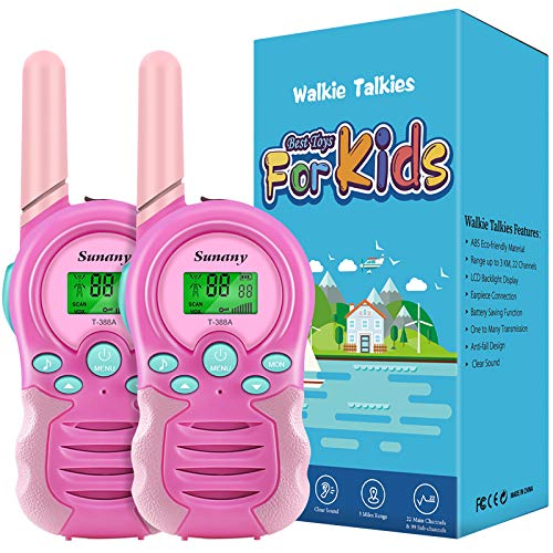 Sunany Walkie Talkies for Kids,2 Pack Kids Walkie Talkies Long Range 3 KMs with 22 Channels 2 Way Radio,Kids Toy Gift for Girls and Boys to Outside Camping Hiking(Pink)