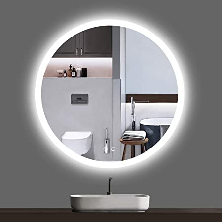 Keonjinn LED Round Mirror 24-inch Bathroom Vanity Mirror Dimmable Circle Wall Mounted Mirror Anti-Fog Lighted Makeup Mirror