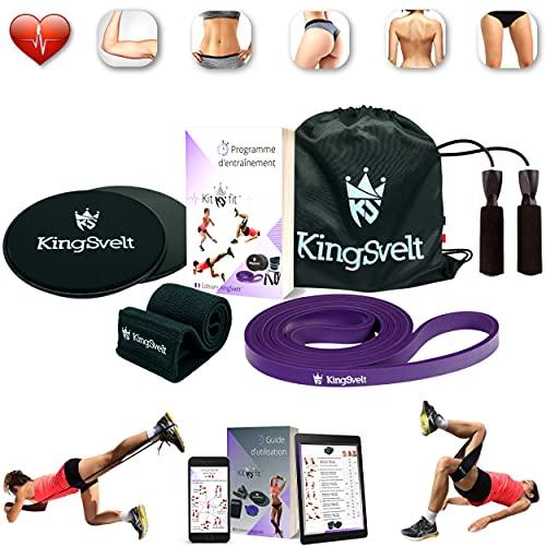 KingSvelt 4 in 1 Fitness Kit - Kit de gimnasio en casa, kit de musculación [banda elástica, banda de resistencia, cuerda de saltar, discos de fitness] & [bolsa, programa de entrenamiento de regalo].