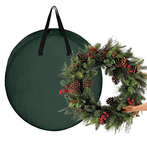 Pannow Christmas Wreath Storage Bag Xmas Wreath Container, Reinforced Wide Handle and Double Sleek Zipper Protect Your Holiday Advent, Garland, Party Decorations and Ornaments