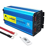 Cantonape Pure Sine Wave Inverter 3000W Power Inverter 24V to 220V DC to AC with LED Display Remote Controller for Truck RV Home Solar System