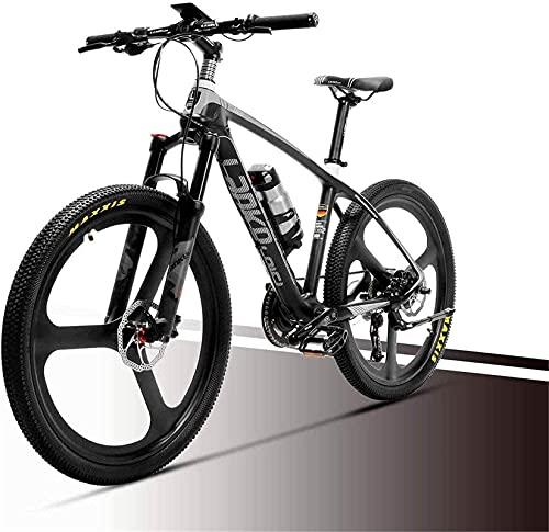 36V 6.8Ah Bicicleta De Montaña Eléctrica Viaje En Ciudad Ciclismo De Carretera Bicicleta Fibra De Carbono Superligera 18Kg Sin Bicicleta Eléctrica con Freno Hidráulico (Color: Rojo) Montar Al Aire L