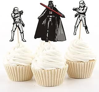 24 Star Wars Cupcake Topper Picks: Stormtrooper, Boba Fett and Darth Vader Birthday Party Decorations Supplies