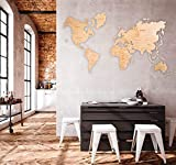 World map Wall Art Wooden map Wall world map Wooden Travel Push Pin Map Rustic Home Farmhouse Decor Rustic Wall Art For Home & Kitchen Wall Art For Office