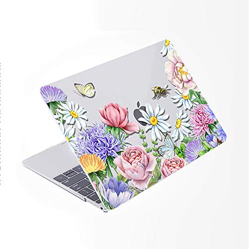 SDH for MacBook Pro 13 inch Case (2020/2019/2018/2017/2016,Touch Bar & ID),Plastic Pattern Hard Shell & Laptop Sleeve Bag & Keyboard Cover for Mac Pro 13 A2159/A1989/A1706/A1708,Flower World 8