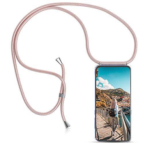 Carcasa de movil con Cuerda para Colgar Xiaomi Mi A2【Versión Popular 2019】 Funda para iPhone/Samsung/Huawei con Correa Colgante para Llevar en el Cuello -Hecho a Mano en Berlin[Oro Rosa]