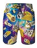 Spreadhoodie 3D Katze Schwimmhose für Herren Hawaiian Taco Cats Badehose Schnelltrocknend Galaxy Badeshorts Bermuda Kurze Hose Sport Surf Shorts XXL