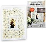 Brandsseller Libro de visitas con marco de fotos integrado para bodas, ocasiones especiales, con 72 corazones de madera para escribir