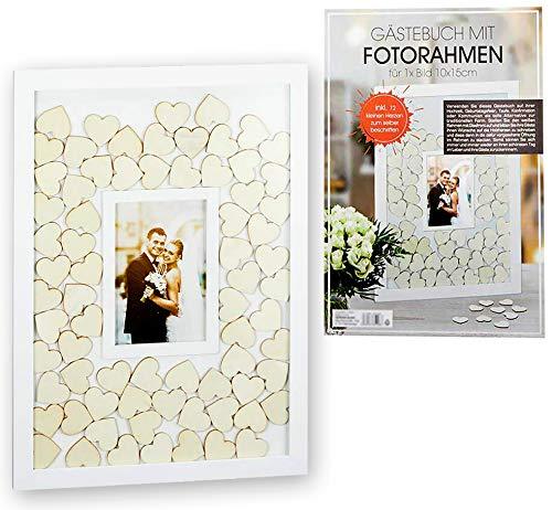 Brandsseller Gästebuch mit integriertem Bilderrahmen Hochzeit Anlässe mit 72 Herzen aus Holz zum Beschriften