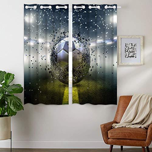 YISUMEI - Gardinen Blcikdicht - Fußball Fragment - 160 x 110 cm 2er Set Vorhang mit Ösen für Wohnzimmer Schlafzimmer