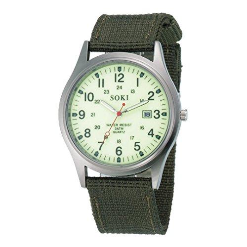 Malloom Militar Hombres del Ejército Fecha Lienzo Banda Deporte del Acero Inoxidable Cuarzo Reloj de Pulsera (Blanco)