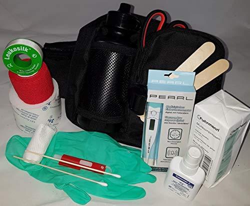 Apotier24 - Kit de primeros auxilios para perro (botella de 0,5 l), color negro – contiene solo artículos que realmente se pueden utilizar en el perro para emergencias, senderismo, deportes, caza
