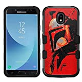 for Galaxy J7 (2018), J7 Refine, J7 Star, J7V 2nd Gen. SM-J737 Hard+Rubber Hybrid Impact Cover Case - Star Wars Mandalorian #RED