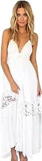 Sexy Ladies Sling Evening Dress, Balakie Women Summer Boho Long Maxi Party Dress Beach Dresses Sundress (L, White)